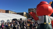 A crowd at Waterloo Town Square for Oktoberfest