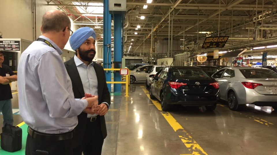 Minister of Science and Economic Development Navdeep Bains at a tour of the Cambridge Toyota plant.