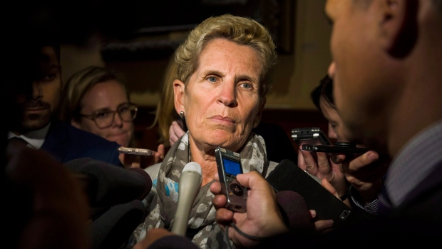 Former Ontario Premier and Liberal MPP Kathleen Wynne speaks to reporters at Queen's Park, in Toronto on Monday, Sept. 24, 2018. THE CANADIAN PRESS/Christopher Katsarov