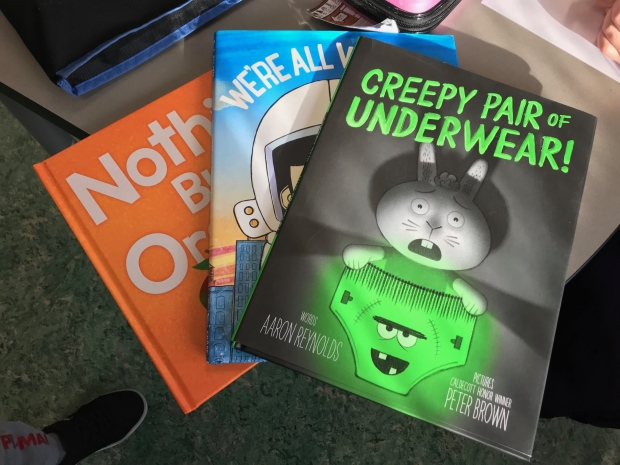 CTV News at Six anchor Erin Isfeld read Creepy Pair of Underwear by Aaron Reynolds to classes at Grovenor School on Tuesday, October 2, 2018.