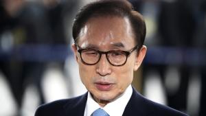 Former South Korean President Lee Myung-bak in Seoul, South Korea, on  March 14, 2018. (Kim Hong-Ji / Pool Photo via AP)