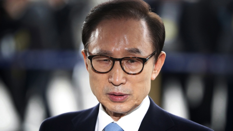 Former South Korean President Lee Myung-bak in Seoul, South Korea, on  March 14, 2018. (Kim Hong-Ji / Pool Photo via AP)