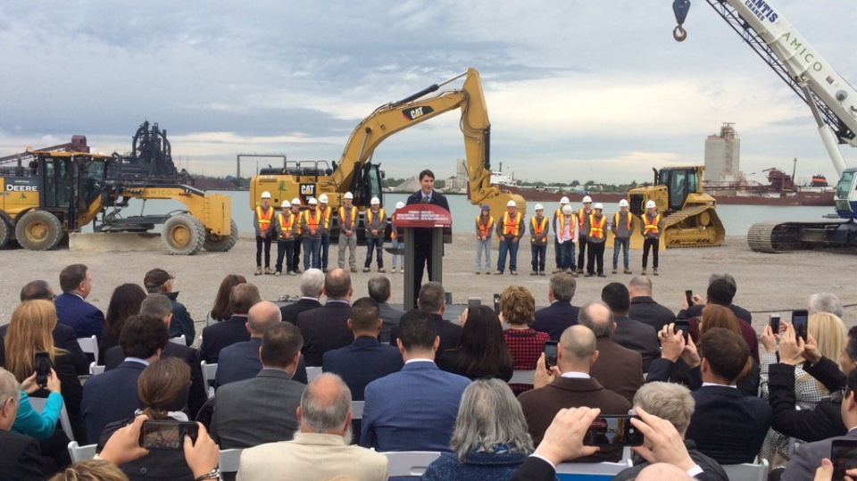 Prime Minister Justin Trudeau at the groundbreaking for the Canadian port of entry for the Gordie Howe International Bridge in Windsor, Ont., on Friday Oct.5, 2018. (Michelle Maluske / CTV Windsor)