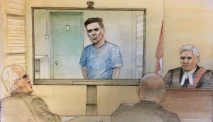 Paul Bernardo is seen in this court sketch, Friday, Oct. 5, 2018.