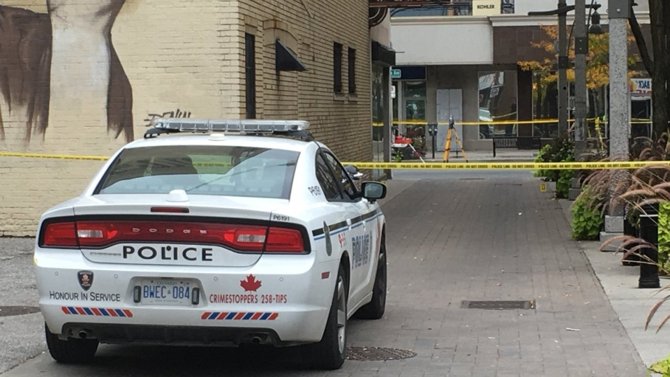 Windsor police continue to investigate a shooting in the area of Ouellette Avenue and Maiden Lane in Windsor, Ont., on Friday, Oct. 5, 2018. (Chris Campbell / CTV Windsor)