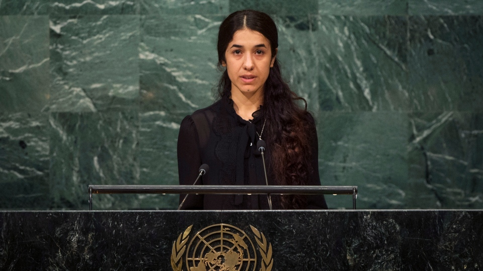 This Sept. 19, 2016 file photo shows Nadia Murad, a Yazidi former captive of the Islamic State group, addresses the 71st session of the UN General Assembly, at UN headquarters. (UN Photo by Cia Pak via AP, File)