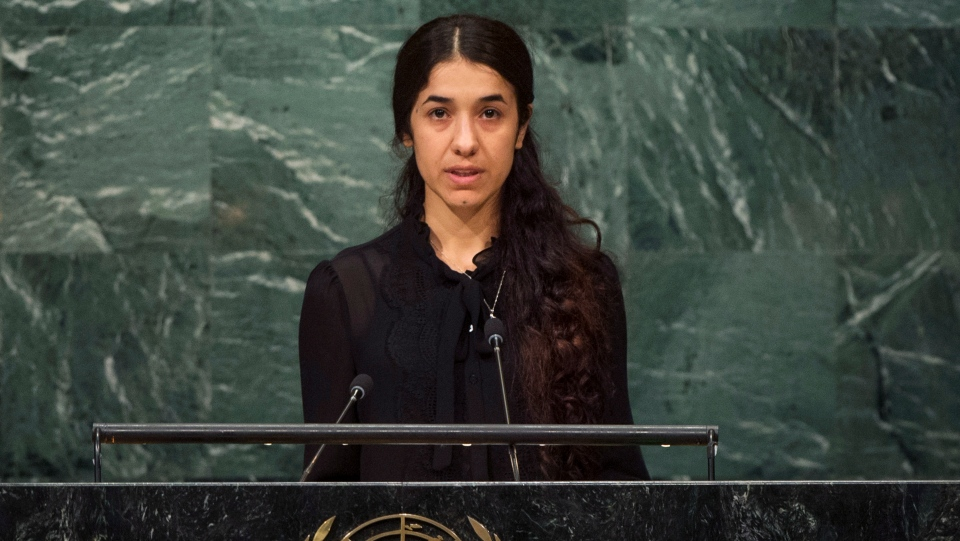 Nadia Murad, a Yazidi former captive of the Islamic State group, addresses the 71st session of the U.N. General Assembly, at U.N. headquarters, Sept. 19, 2016. (UN Photo by Cia Pak via AP)