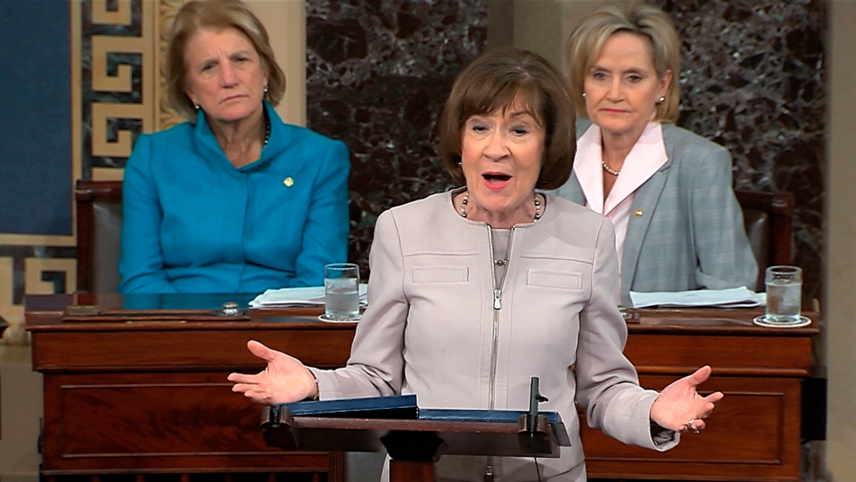 In this image from video provided by Senate TV, Sen. Susan Collins, R-Maine., speaks on the Senate floor about her vote on Supreme Court nominee Judge Brett Kavanaugh, Friday, Oct. 5, 2018 in the Capitol in Washington. (Senate TV via AP)