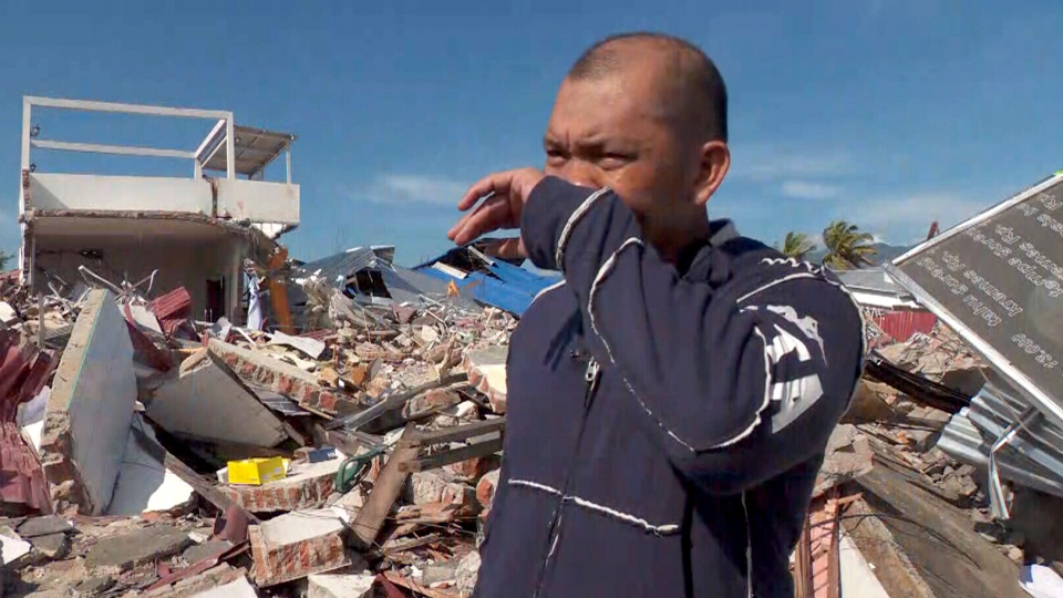 Jambar lost his wife five months ago, and he was determined to find his three missing children. He searched for them amid the rubble for two days.