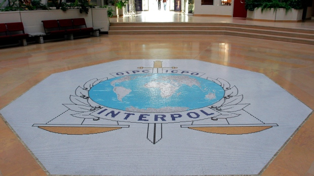 This Oct.16, 2007 file photo shows the entrance hall of Interpol's headquarters in Lyon, central France. (AP Photo/Laurent Cipriani, File)