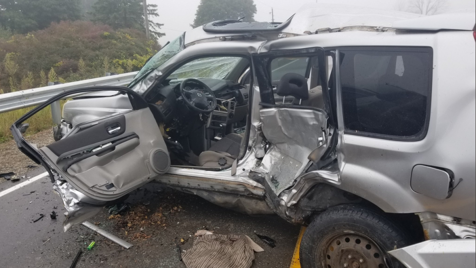 The driver of the SUV was taken to hospital with serious injuries after a crash on Soursprings Rd. (Courtesy: OPP)