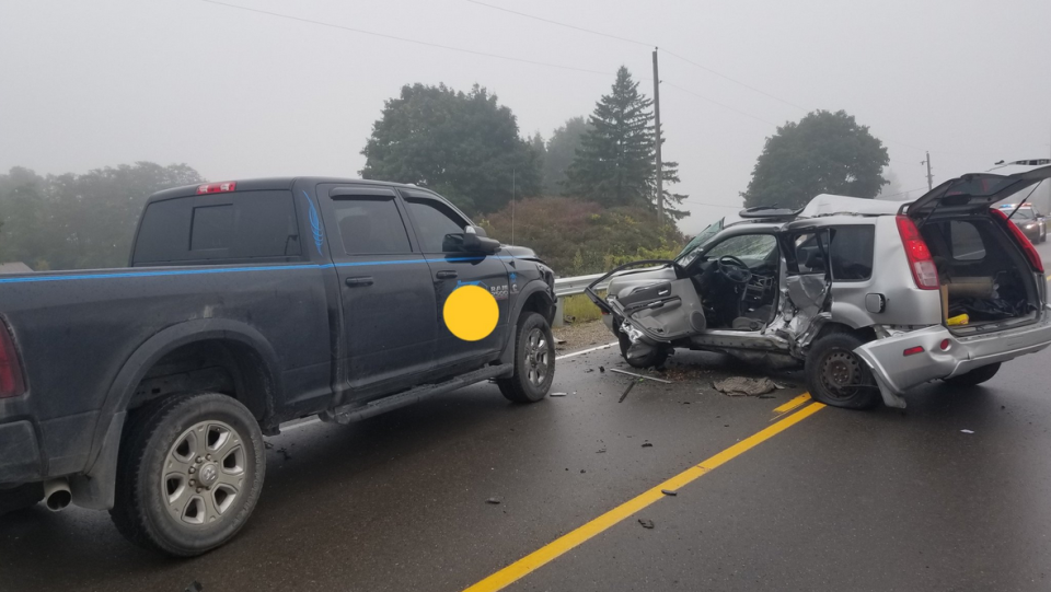 A SUV and pickup collided on Soursprings Rd. near Six Nations. (Courtesy: OPP)