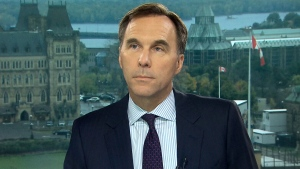 Finance Minister Bill Morneau on CTV's Question Period on Sunday, October 10, 2018. (CTV News)