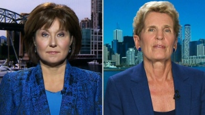 Former B.C. and Ontario premiers Christy Clark and Kathleen Wynne on CTV's Question Period on Sunday, October 7, 2018. (CTV News)