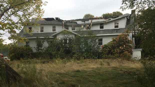 The vacant Villa Madonna Retreat Centre in Little Bras d'or after it was destroyed by fire overnight.