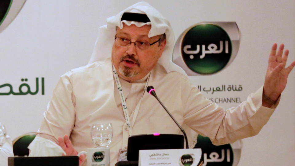 In this Dec. 15, 2014 file photo, Jamal Khashoggi, then general manager of a new Arabic news channel, speaks during a press conference, in Manama, Bahrain. (AP Photo/Hasan Jamali, File)