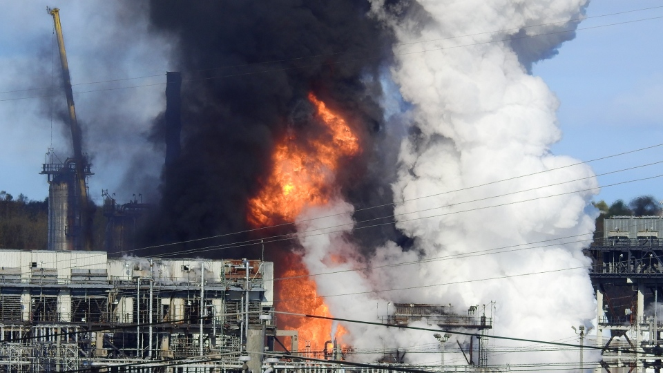 Flame and smoke erupts from the Irving Oil refinery in Saint John, N.B., on Monday. (COURTESY RALPH KEEN)