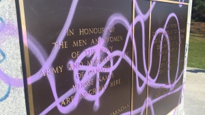 The Naval Memorial in Halifax's Point Pleasant Park was defaced by vandalism overnight Sunday. (Allan April / CTV Atlantic)