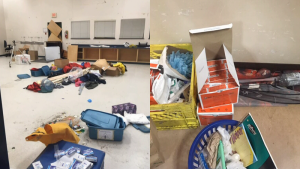 Photos posted by School District 68 board chair Steve Rae show discarded items in Rutherford Elementary School.