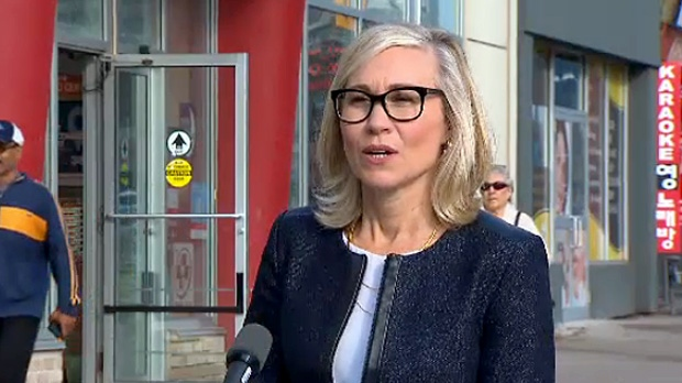 Mayoral candidate Jennifer Keesmaat speaks to reporters as part of a campaign announcement on October 9, 2018.
