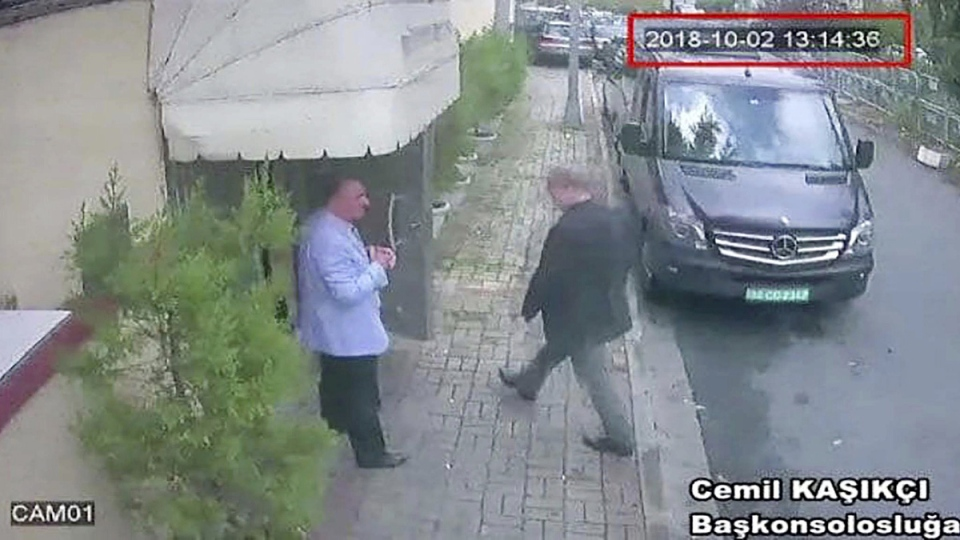 This image taken from CCTV video obtained by the Turkish newspaper Hurriyet and made available on Tuesday, Oct. 9, 2018 claims to show Saudi journalist Jamal Khashoggi entering the Saudi consulate in Istanbul, on Oct. 2, 2018. (CCTV/Hurriyet via AP)