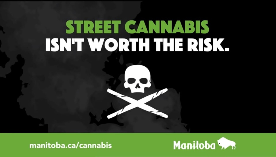 One of the videos titled 'Street Cannabis – Isn't worth the risk' shows a skull above an 'X' formed out of two joints. (Source: Manitoba Government)