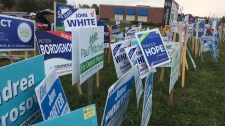 Election signs are seen in Blue Mountains, Ont. in this file photo from the October 2018 municipal campaign. (Rob Cooper / CTV News Barrie)