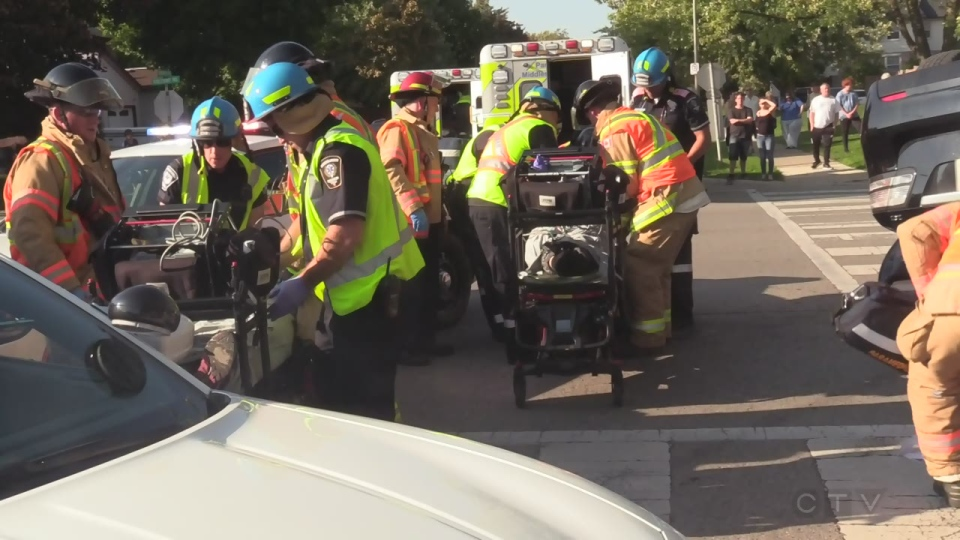 Emergency crews on scene of a collision