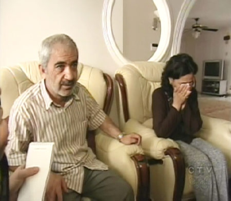 The parents of the three teens killed in Kingston, Ont., Mohammed Shafi and Tobba Yahya, speak with reporters at their home in St. Leonard, Que. on Friday, July 3, 2009.