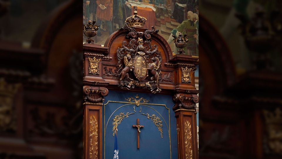 The crucifix inside the National Assembly is shown Tuesday, November 5, 2013 at the legislature in Quebec City. (THE CANADIAN PRESS/Jacques Boissinot)
