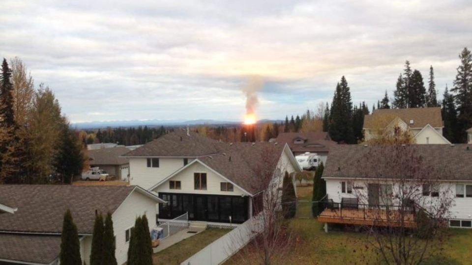 A pipeline explosion near Prince George, B.C. on Oct. 9, 2018 is seen in this social media image. (Jamie Rye / Twitter)