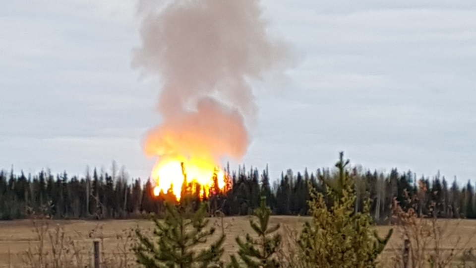 A large fire can be seen near Prince George, B.C. on Oct. 9, 2018. (Submitted by Crystal Connors)
