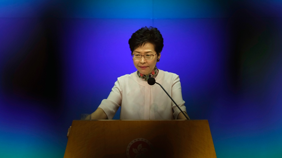 Hong Kong Chief Executive Carrie Lam attends an question and answer session after delivering her policy speech at the Legislative Council in Hong Kong Wednesday, Oct. 10, 2018. (AP Photo/Vincent Yu)