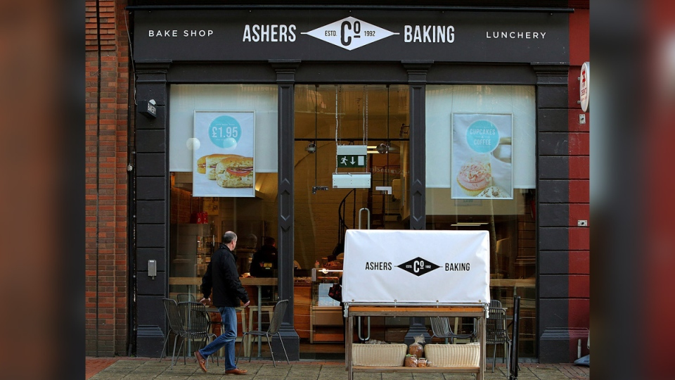 Ashers bakery in Belfast, northern Ireland, on March 26, 2015. (Brian Lawless/PA via AP, File)