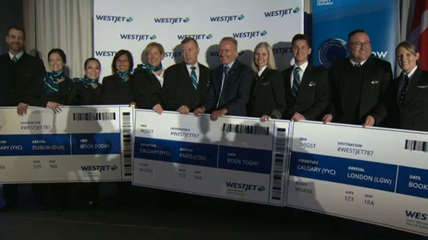 WestJet announced on Wednesday that the first three Boeing 787-9 Dreamliner international destinations from Calgary will start in the spring.