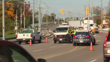 Traffic disruptions after a crash in Kitchener