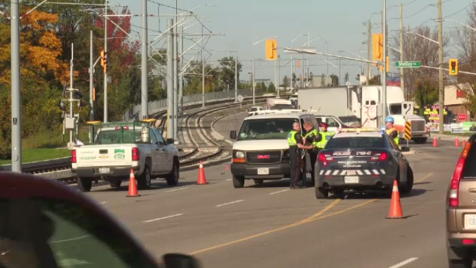 Traffic was disrupted after a crash in Kitchener.