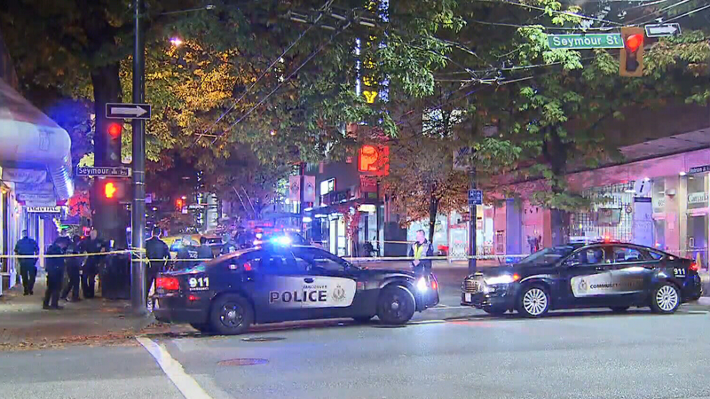 Police respond to a violent confrontation that broke out during a routine traffic stop in downtown Vancouver Tuesday.