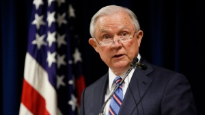 Then-Attorney General Jeff Sessions speaks during a press conference Tuesday, Oct. 2, 2018, at the U.S. Attorney's Office in Columbus, Ohio. (Adam Cairns/The Columbus Dispatch via AP)
