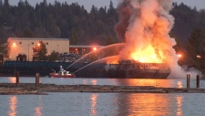 Barge fire in Surrey
