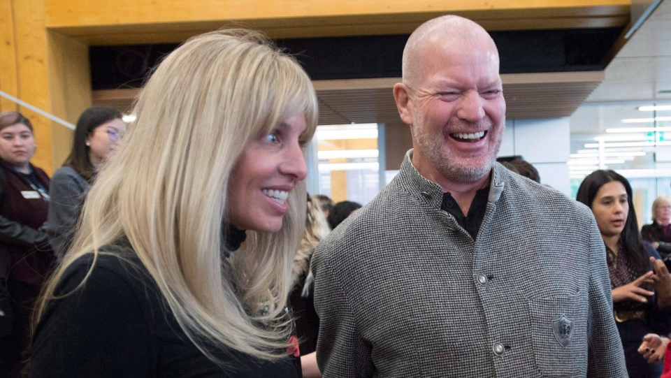 Shannon and Chip Wilson during the opening of the Wilson School of Design at Kwantlen Polytechnic University in Richmond, B.C., Wednesday, Jan. 3 2018. (THE CANADIAN PRESS/Jonathan Hayward)