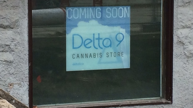 An opening soon sign is displayed in the window of a Delta 9 location on River Avenue scheduled to open in 2019. (Josh Crabb/CTV News.)