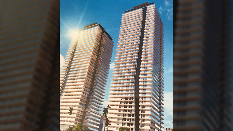 Langham Developments is applying for a zoning change that would allow for the construction of their planned Falcon Towers development. Supplied.