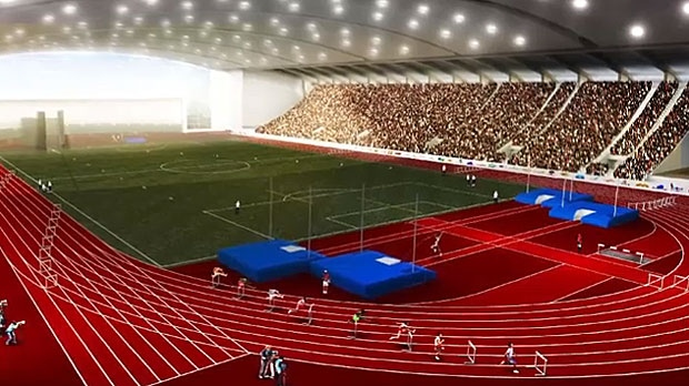 The Calgary Multisport Fieldhouse Society says an indoor facility will help provide a space for many different sports in the city, including a full size track. (Supplied: CMFS)