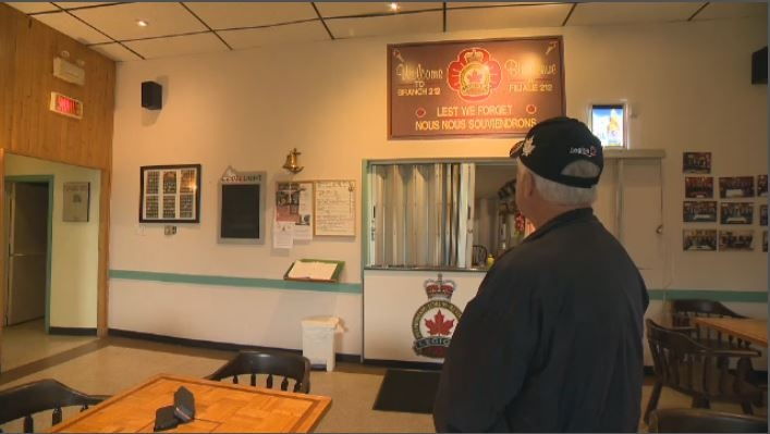 Ray Cormie, whose father and grandfather both served in the Canadian military, looks out at the LaSalle Branch of the Royal Canadian Legion. (CTV Montreal)
