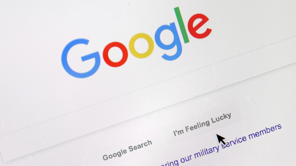 A cursor moves over Google's search engine page in Portland, Ore., on Aug. 28, 2018. (Don Ryan / THE CANADIAN PRESS / AP)