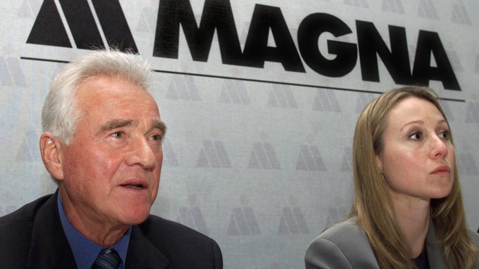 Frank and Belinda Stronach at a Magna annual general meeting in Toronto in 2001. (CP PHOTO/Kevin Frayer)