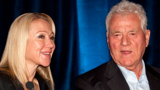 Magna International Inc. chairman Frank Stronach (right) and executive vice-chair Belinda Stronach chat at the company's annual general meeting in Markham, Ontario on Thursday May 6, 2010. THE CANADIAN PRESS/Frank Gunn
