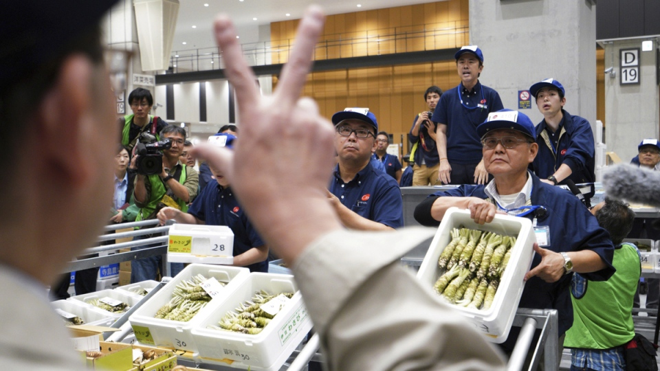 Prospective buyers bid wasabi, or Japanese horseradish, during the first auction at the newly opened fruit and vegetable wholesale part of Toyosu Market, in Tokyo, on Oct. 11, 2018. (Eugene Hoshiko / AP)