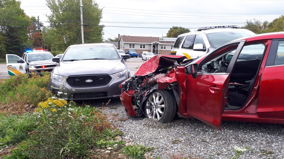 A man was arrested after a stolen vehicle crashed into a police cruiser in North Sydney, N.S., on Oct. 11, 2018. (Submitted)